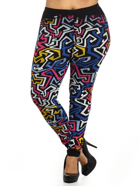 Plus Size Hot Aztec Print Pink Leggings