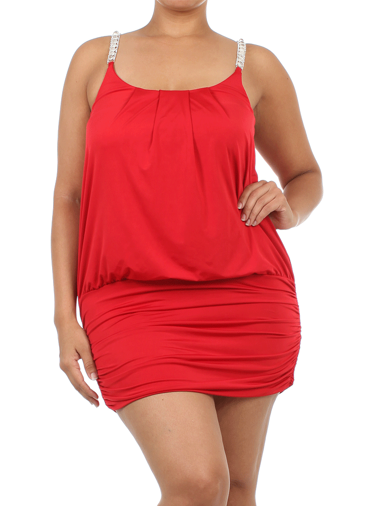 Plus Size Gleaming Tube Blouson Red Dress