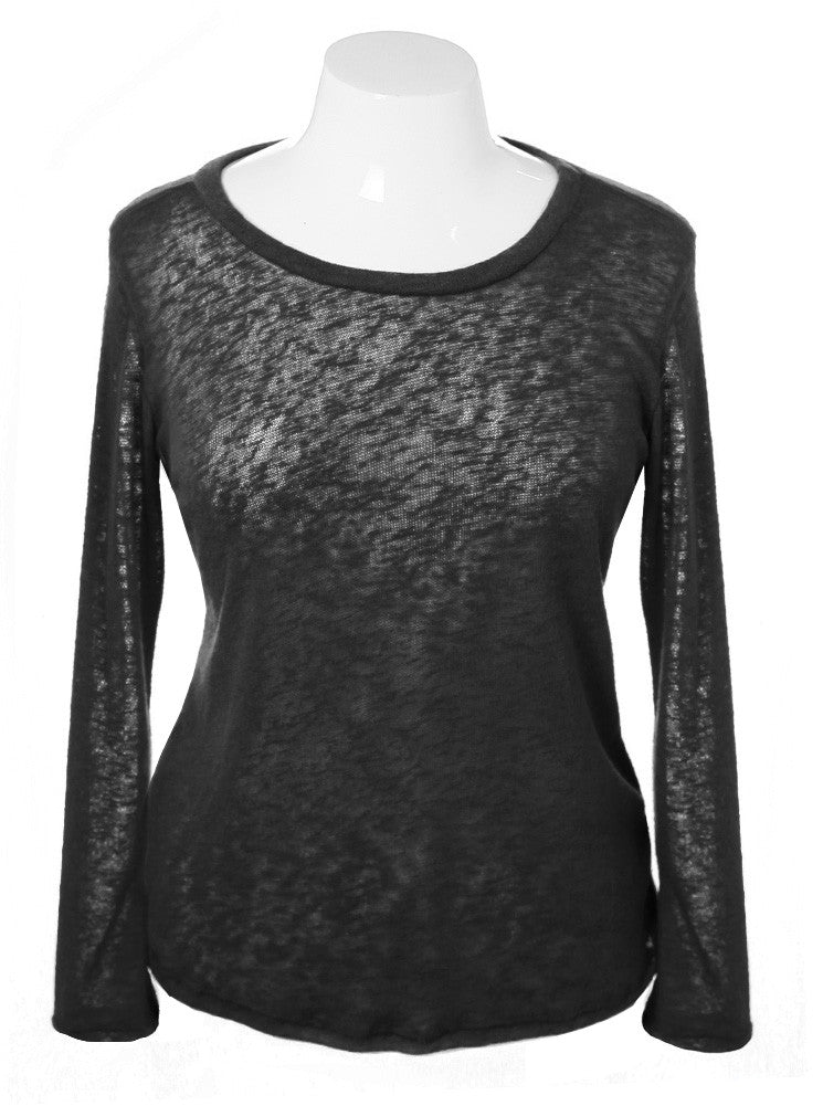 Plus Size See Through Back Black Long Sleeve