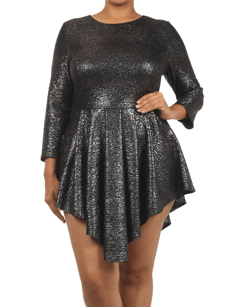 Plus Size Shine Bright Silver Glitter Skater Dress