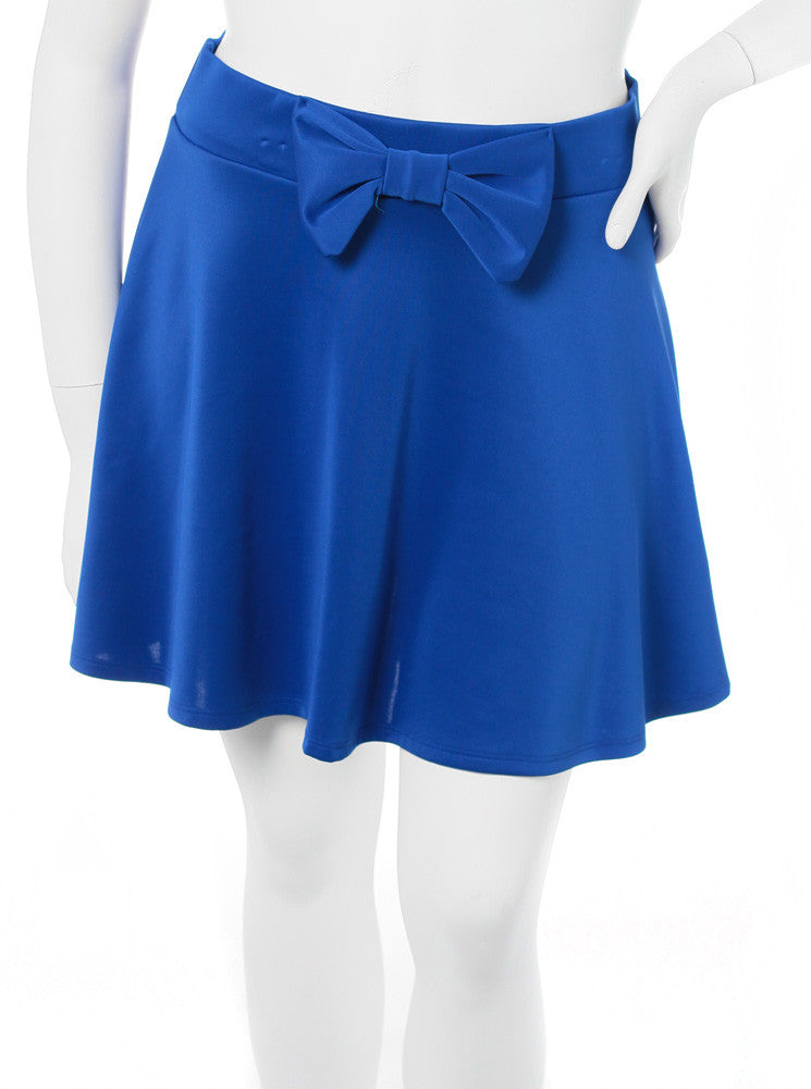 Plus Size Adorable Bow Blue Skirt