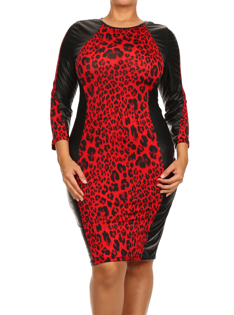 Plus Size On The Wild Side Red Leopard Leather Dress