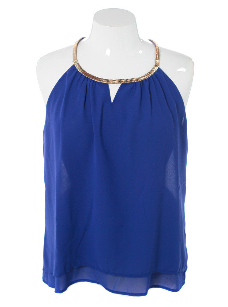Plus Size Gilded Neckline Sheer Blue Top