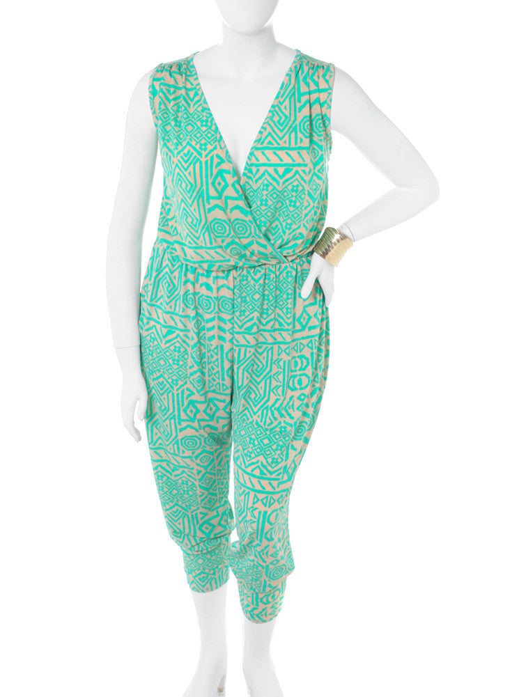 Plus Size Mega Mod Tribal Print Green Jumpsuit