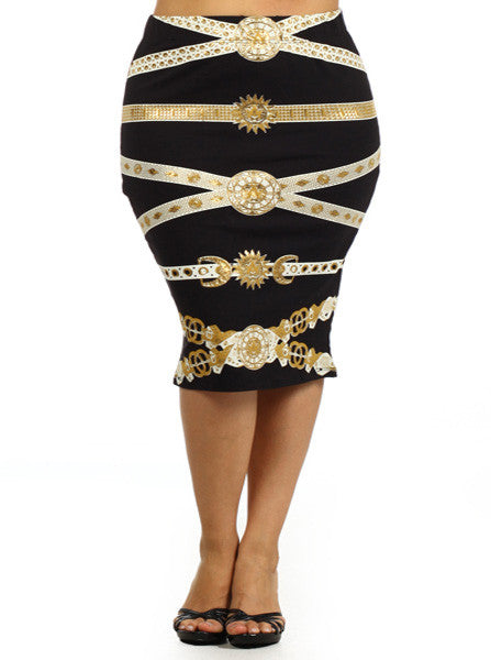 Plus Size Designer Chain Print Black Skirt