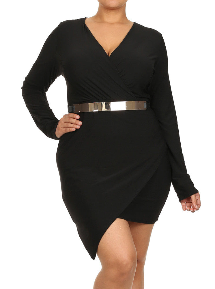 Plus Size Gorgeous Belted Jagged Hem Black Dress