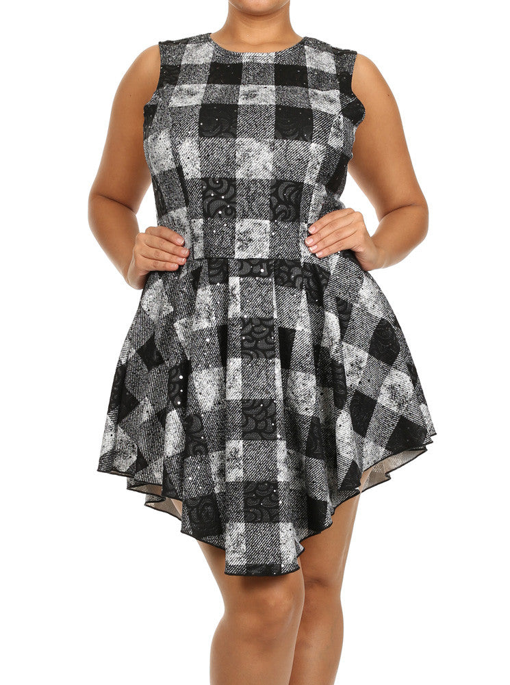 Plus Size Princess Plaid Sequins Skater Dress