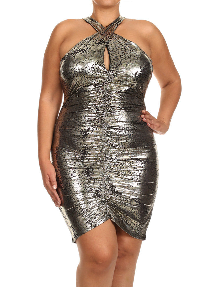 Plus Size Metallic Snake Print Ruched Dress