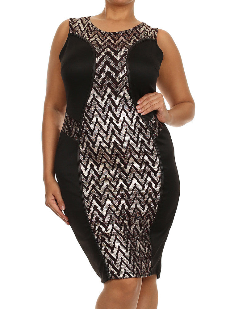 Plus Size Glam Silver Red Hue Dress