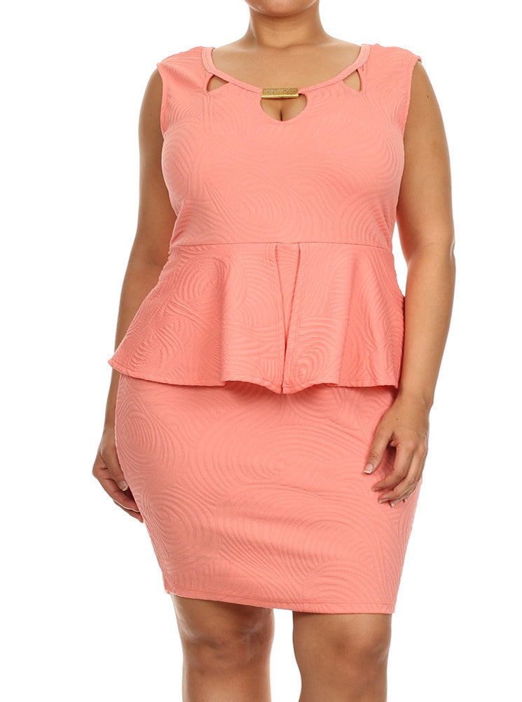 Plus Size Glamorous Wave Pattern Peplum Peach Pink Dress