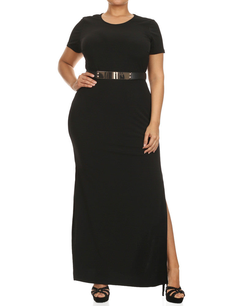 Plus Size Open Slit Cocktail Long Black Dress