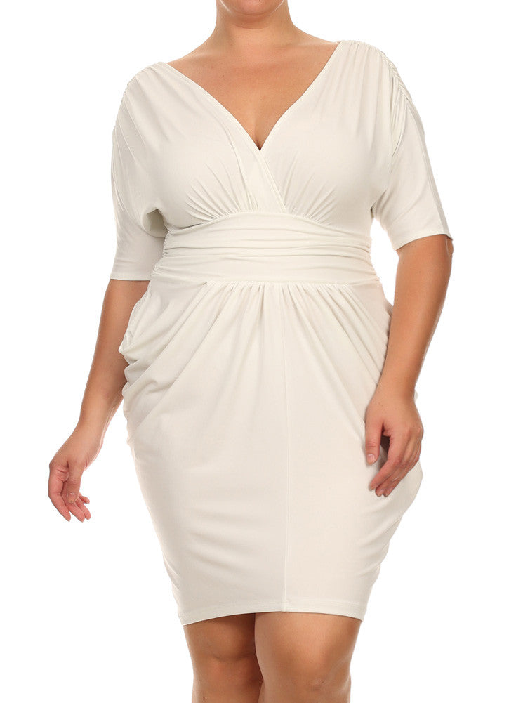 Plus Size Divine V Neck Pleated Off White Dress