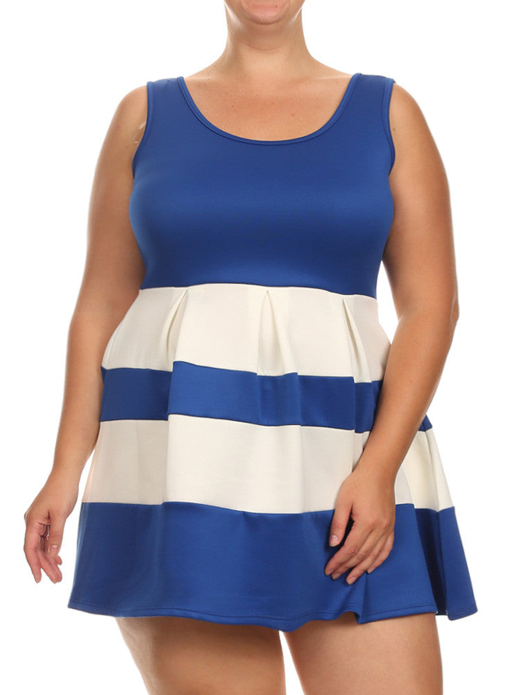Plus Size Adorable Stripe Blue Dress