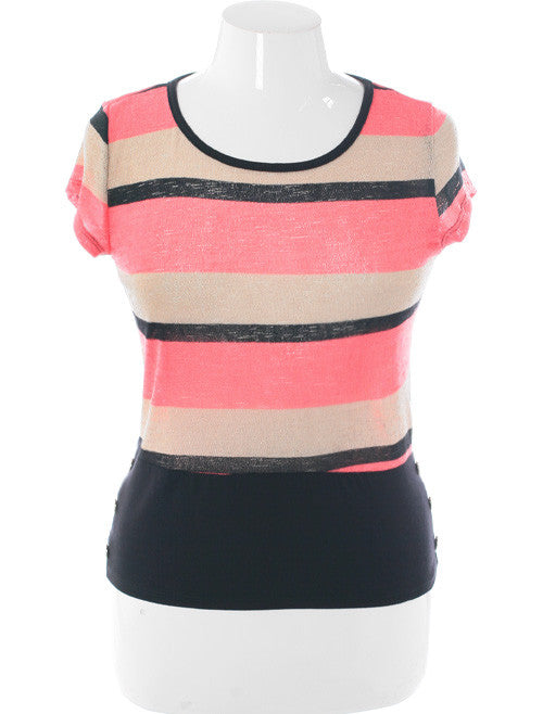 Plus Size Trendy Cadet Striped Pink Blouse