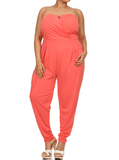 Plus Size Strapless Cross Over Coral Jumpsuit