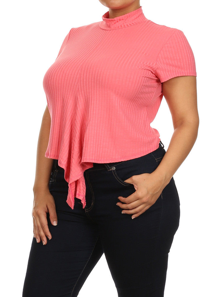 Plus Size Adorable Knot Pink Ribbed Crop Top