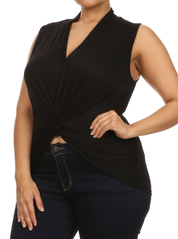 Plus Size Flirty Front Knot Cross Over Black Top
