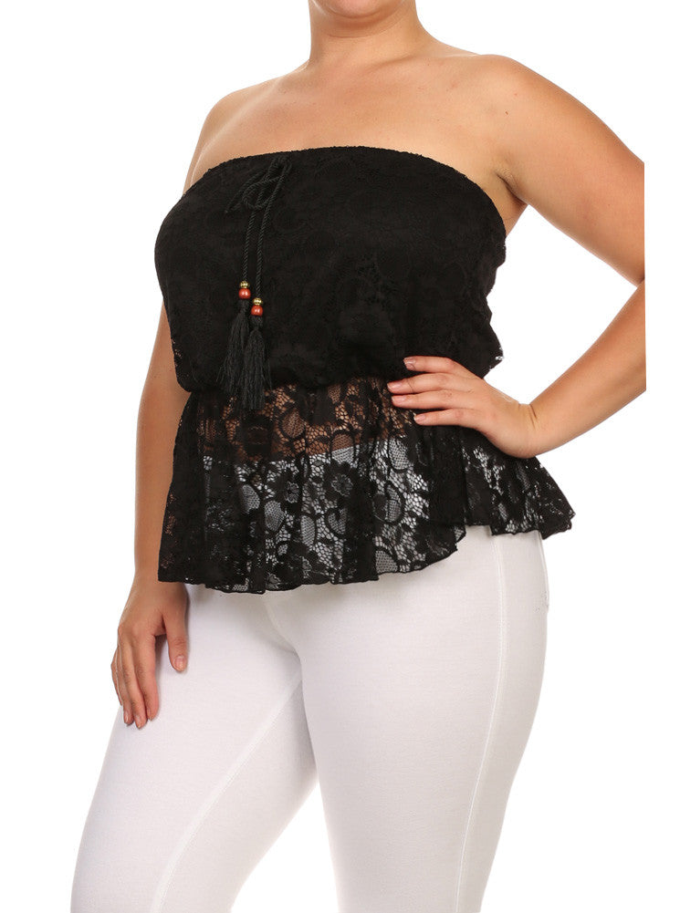 Plus Size Spring Embrace Lace Peplum Black Tank