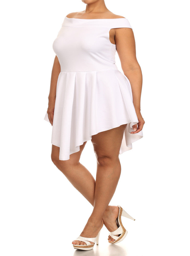 Plus Size Off Shoulder V Hem Skater White Dress
