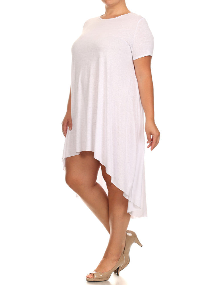 Plus Size Mod Girl White Maxi Tee