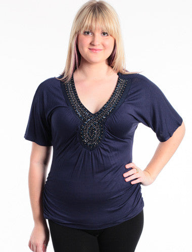 Plus Size Beaded V-Neck Navy Blue Top