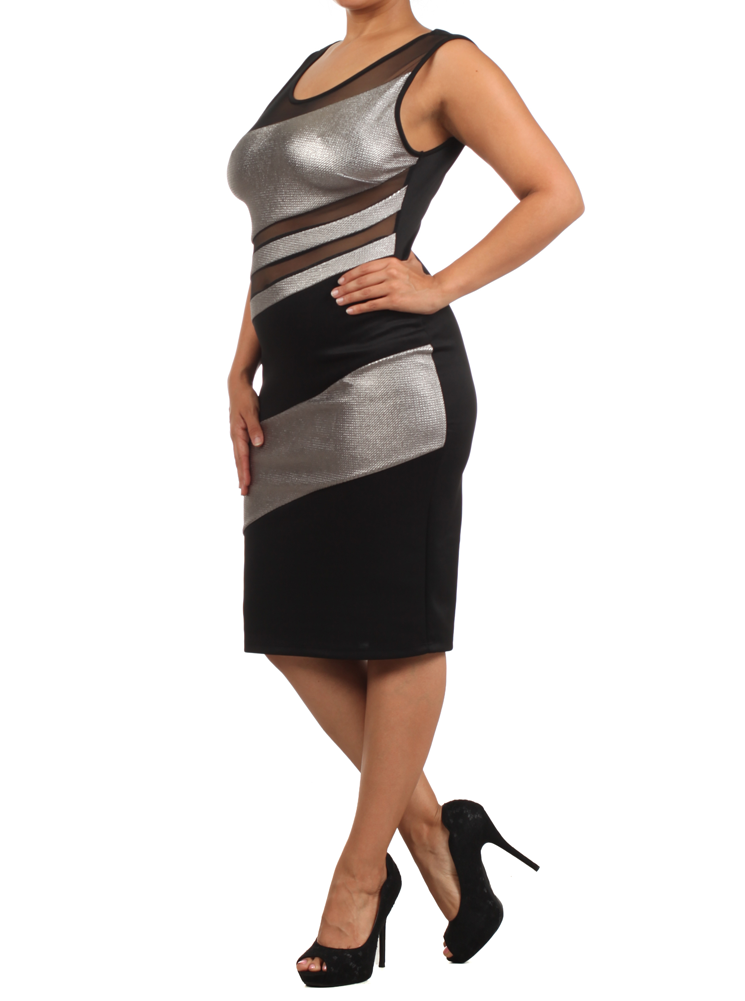 Plus Size Hot Metallic Panels Mesh Silver Dress