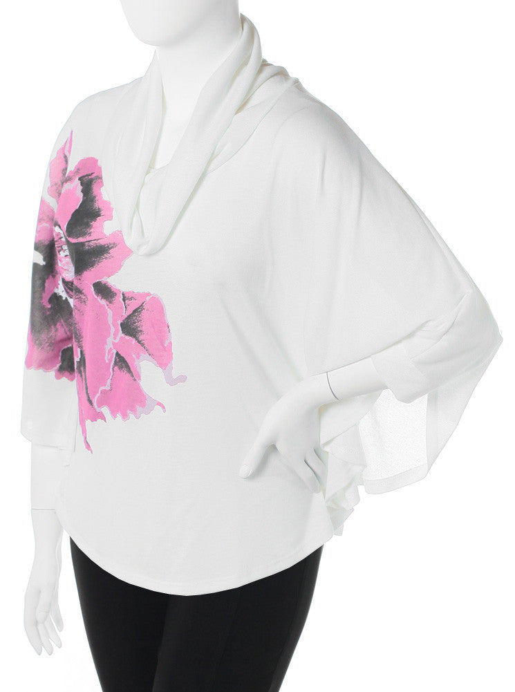 Plus Size Butterfly Sleeve Flower White Top