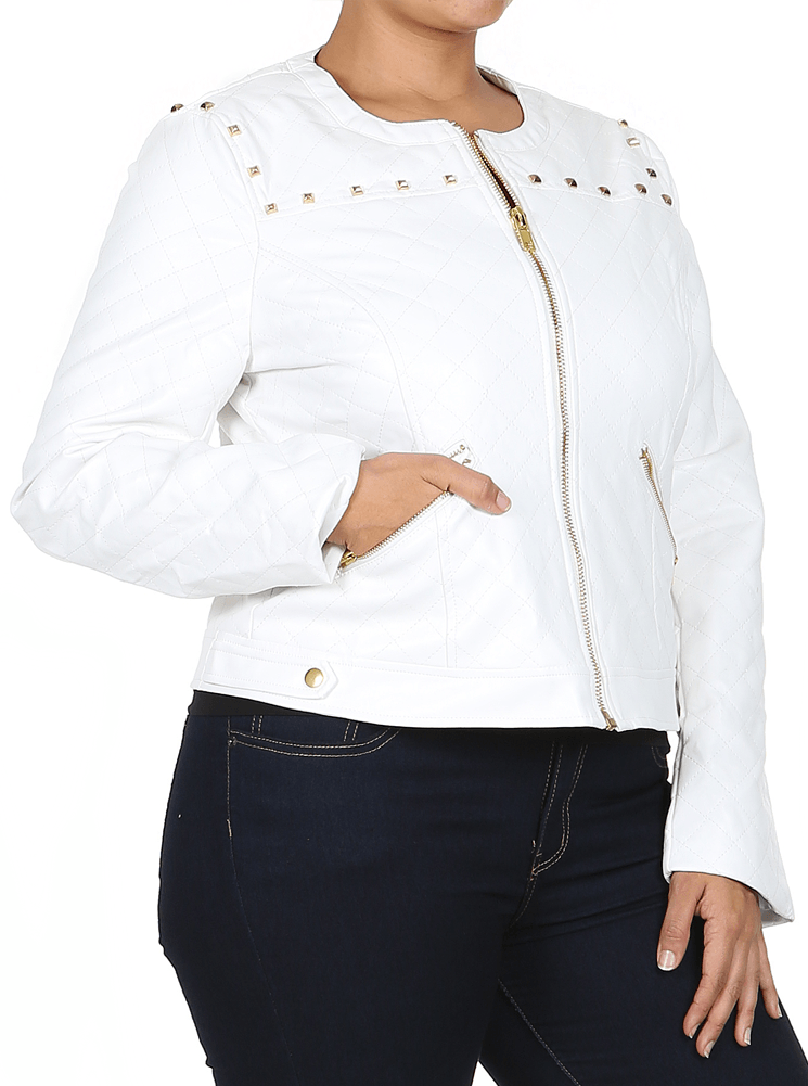 Plus Size Night Rider White Quilted Leather Jacket