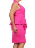 Plus Size Deep In Love Peplum Pink Midi Dress