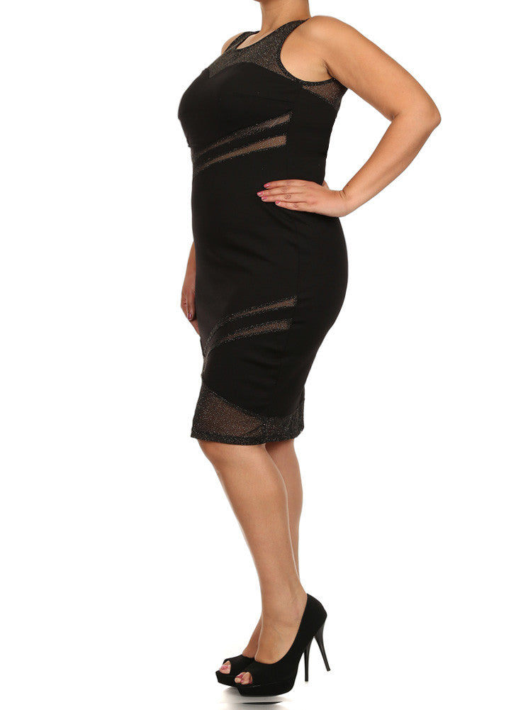 Plus Size Sweetheart Glitter Mesh Gold Midi Dress