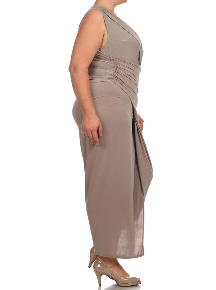 Plus Size Night To Remember Taupe Maxi Dress