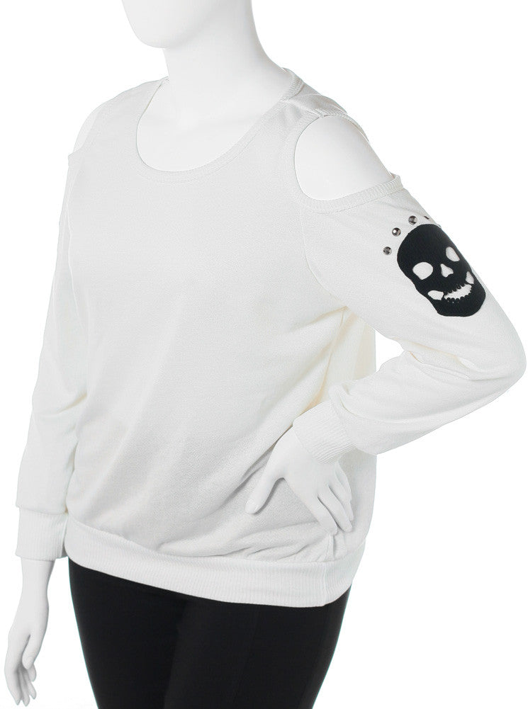 Plus Size Open Shoulder Skull Patch Knit White Top