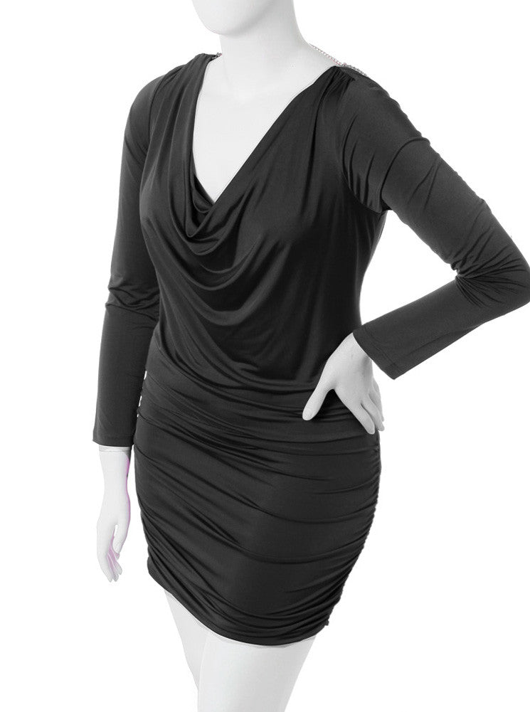 Plus Size Pearl Necklace Cowl Neck Black Dress