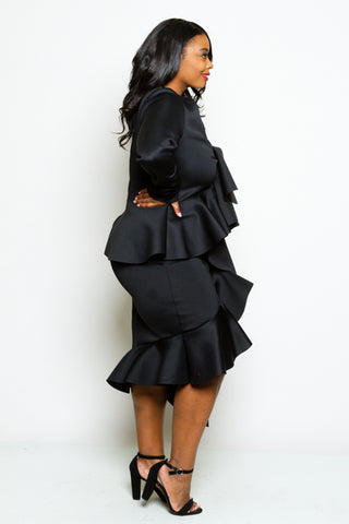 Plus Size Ultra Glam Ruffle Front Peplum Dress