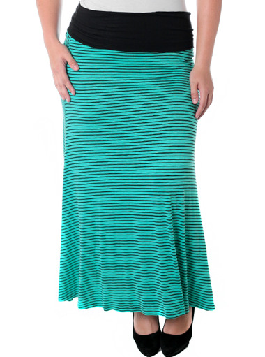 Plus Size Sexy Striped Teal Maxi Skirt