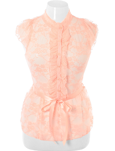 Plus Size See Through Ruffle Lace Peach Blouse