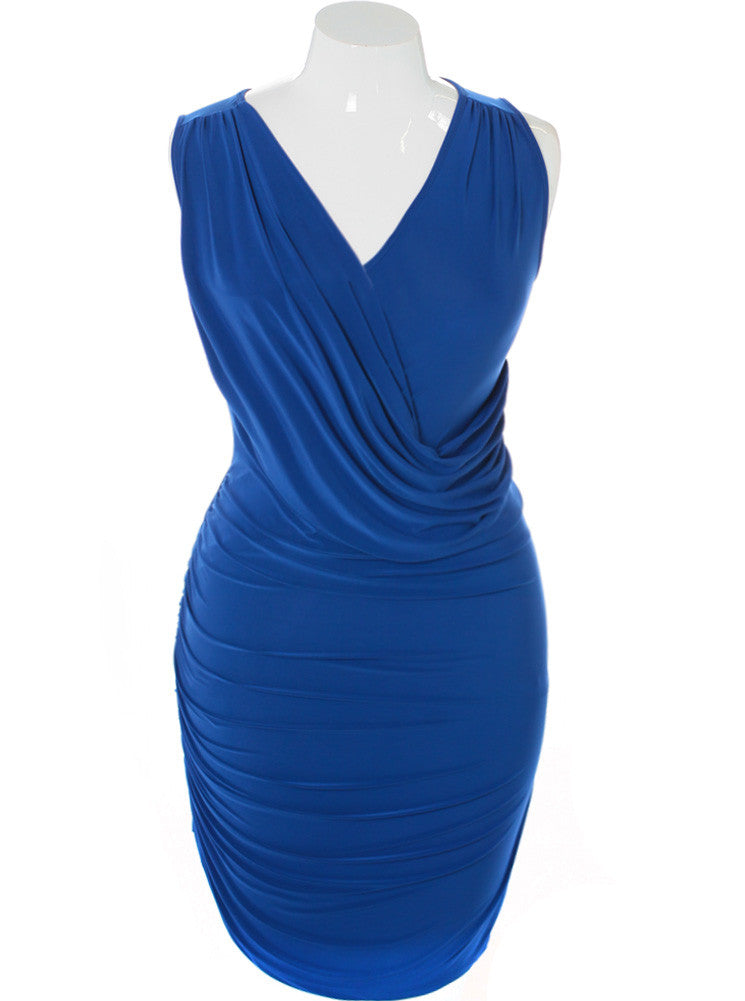 Plus Size Silky Draped Blue Dress