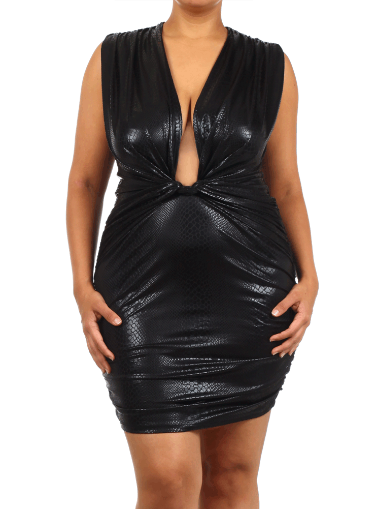 dc2b263de268b Plus Size Viper Persuasion Faux Leather Dress – Plussizefix