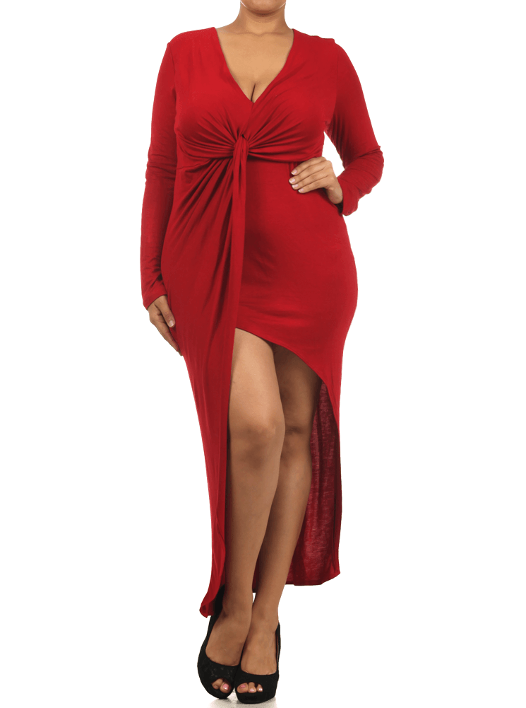 Plus Size Knot Of This World Jersey Dip Hem Red Dress