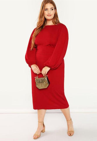 Plus Size Glam Lantern Sleeve Bodycon Dress