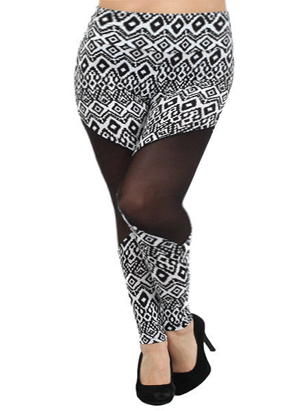 Plus Size Abstract Art Mesh Leggings