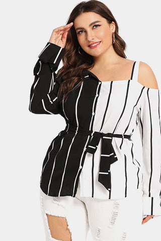 Plus Size High Mod Striped Open Shoulder Blouse Top ... 5e662471c