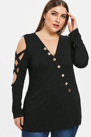 Plus Size Asymmetrical Criss Cross Button Up Top