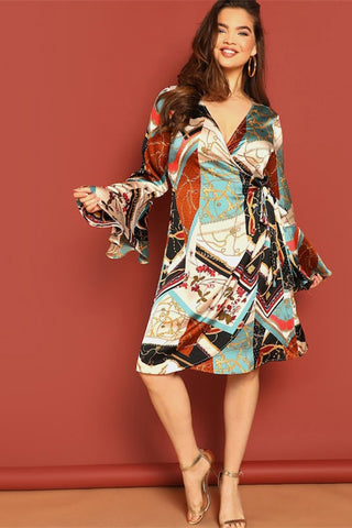 Plus Size Stunning Geometric Wrap Surplice Party Dress