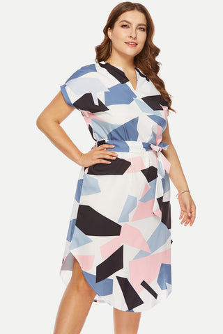 Plus Size Pastel Colorful V Neck Wrap Dress
