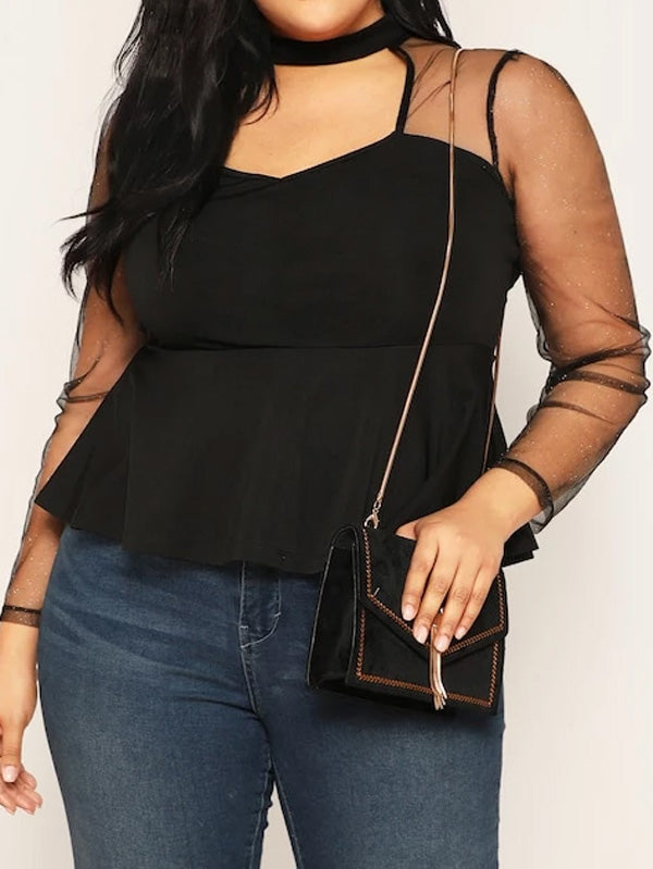 Plus Size Open Front Sheer Mesh Sleeve Peplum Top
