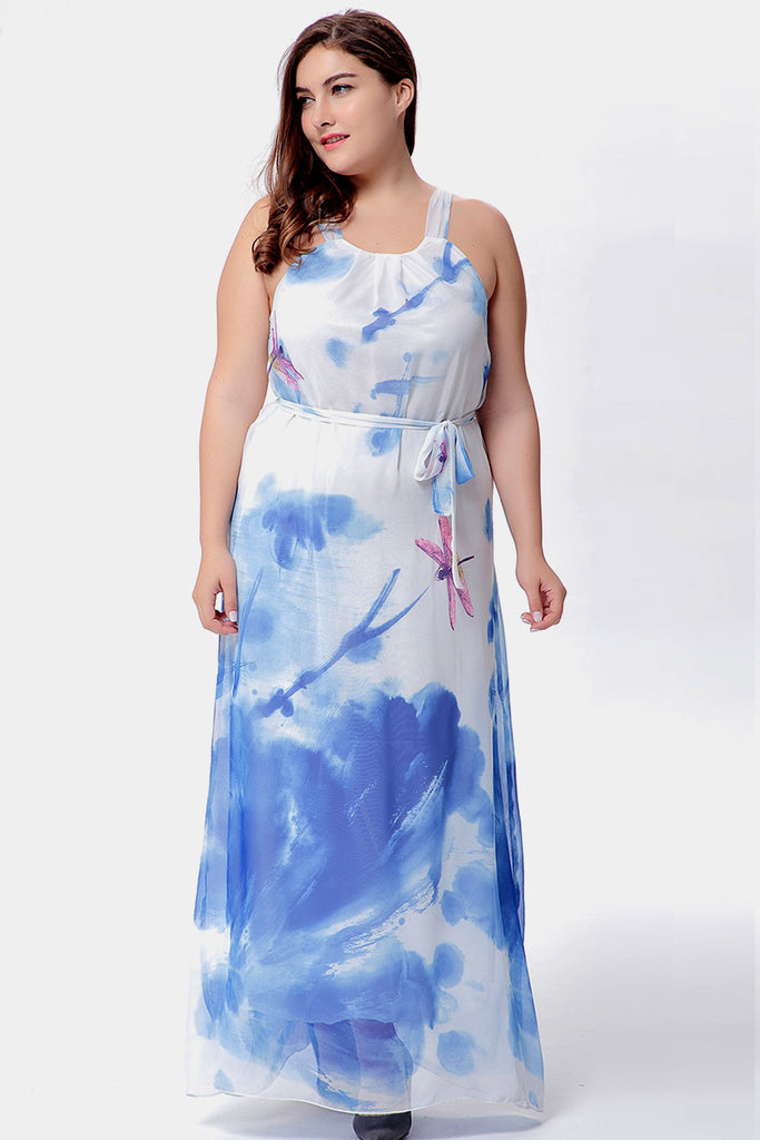 Plus Size Sweet Paradise Dragonfly Accent Watercolor Maxi Dress