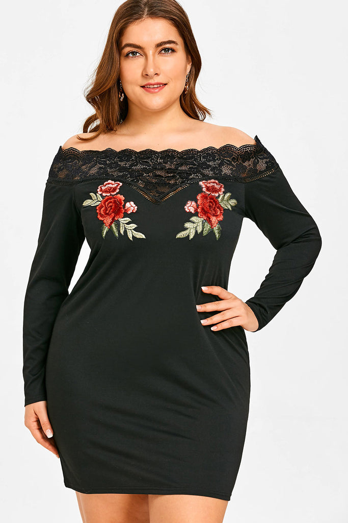 Plus Size Off Shoulder Lace Panel Rose Embroidered Dress