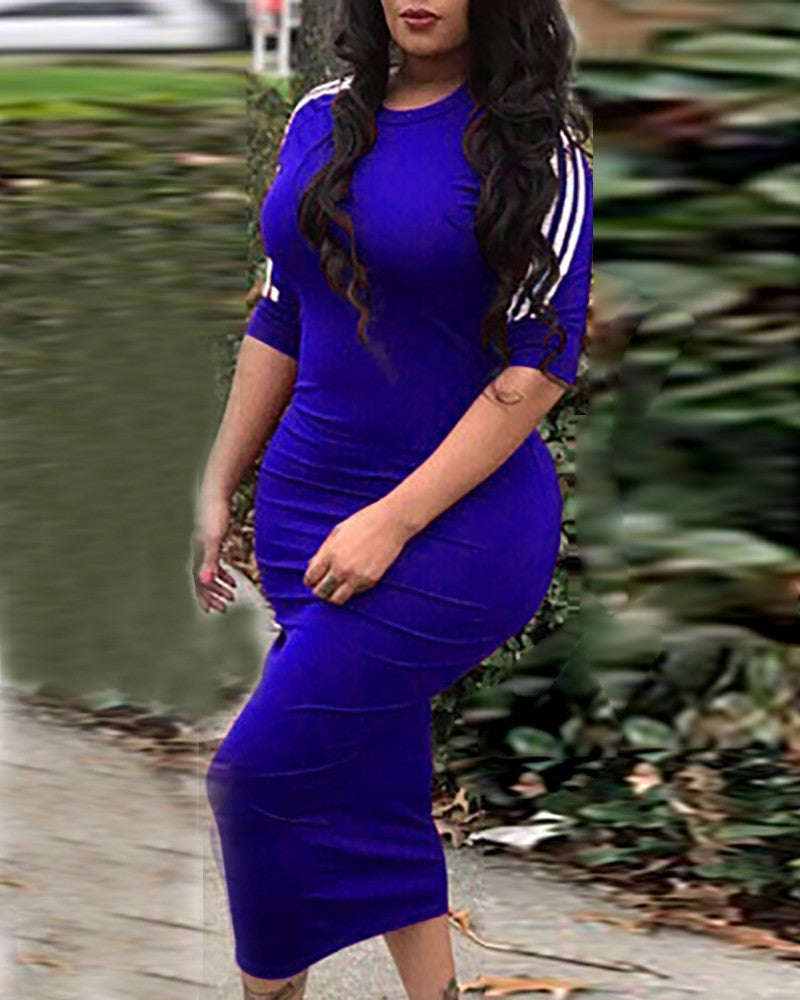 Plus Size Striped Tape Insert Dress