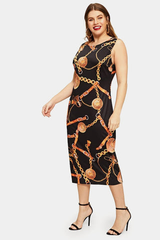 Plus Size Be Mine Chain Designer Print Party Midi Dress